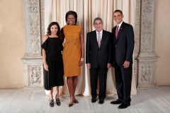 President Barack Obama and First Lady Michelle Obama pose for a photo during a reception at the Metropolitan Museum in New York with, H.E. Oscar Arias Sanchez President of the Republic of Costa Rica and Daughter, Miss Sylvia Arias, Wednesday, Sept. 23, 2009. (Official White House Photo by Lawrence Jackson)This official White House photograph is being made available only for publication by news organizations and/or for personal use printing by the subject(s) of the photograph. The photograph may not be manipulated in any way and may not be used in commercial or political materials, advertisements, emails, products, or promotions that in any way suggests approval or endorsement of the President, the First Family, or the White House.